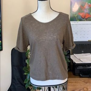Zara Collection Brown Ribbed Knit Top Medium